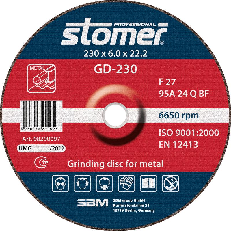 Диск Stomer GD-230 шлифовальный, по металлу 230x6.0x22.2mm