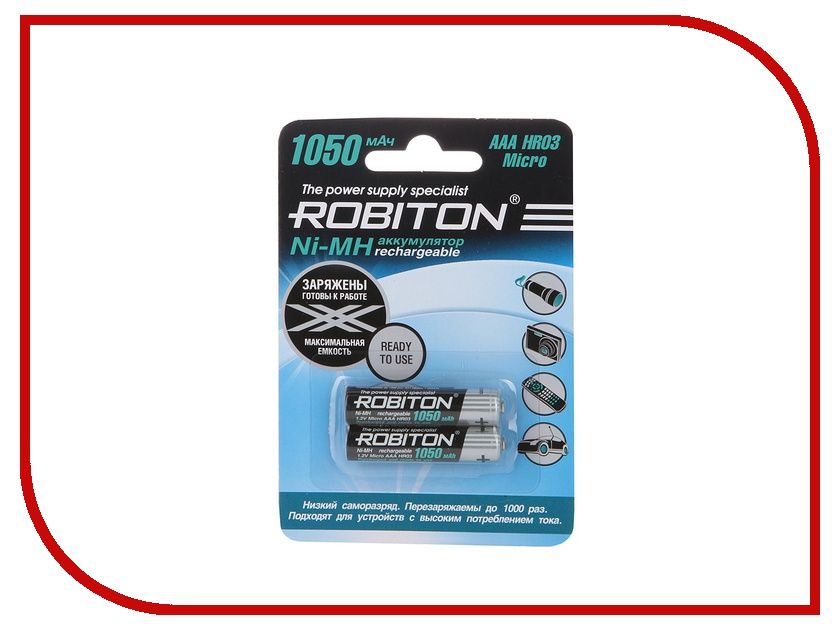 Аккумулятор AAA - Robiton 1050 mAh RTU1050MH-2 BL2 13117 (2 штуки) MH1050AAA аккумулятор aa robiton siberia 2000mhaa 2 14875 bl2 2 штуки