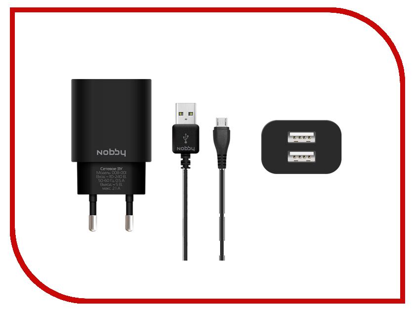 Зарядное устройство Nobby Comfort 008-001 2xUSB 2.1A (1/1A) + кабель microUSB 1.2m SoftTouch Black
