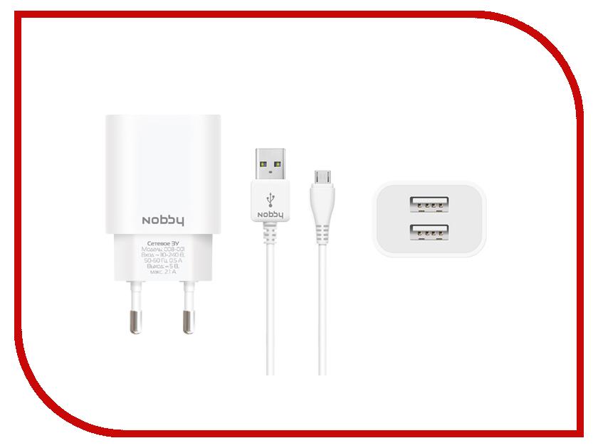 Зарядное устройство Nobby Comfort 008-001 2xUSB 2.1A (1/1A) + кабель microUSB 1.2m SoftTouch White<br>