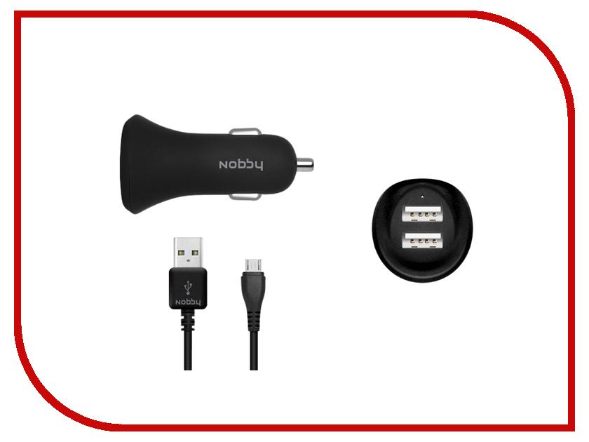 Зарядное устройство Nobby Comfort 008-001 2xUSB 2.4А (1.2/1.2A) + кабель microUSB 1.2m SoftTouch Black