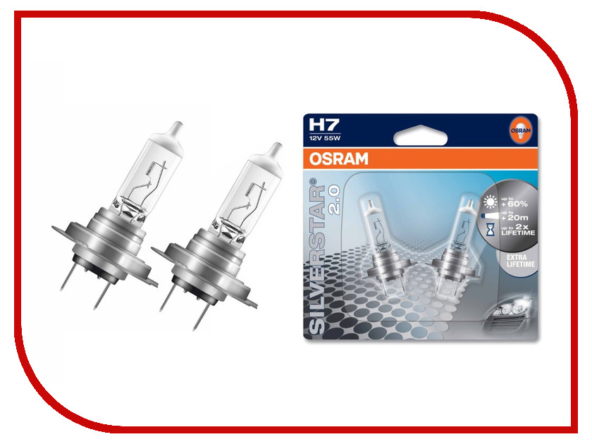 Лампа OSRAM H7 55W PX26d Silverstar 2.0 64210SV2-02B (2 штуки)<br>