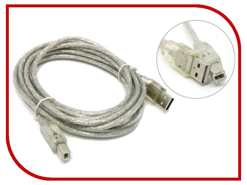 Аксессуар VCOM USB 2.0 AM-BM Transparent 5m VUS6900-5.0MTP<br>