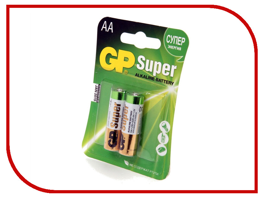 Батарейка AA - GP Super 15A-UE2 LR6 (2 штуки)