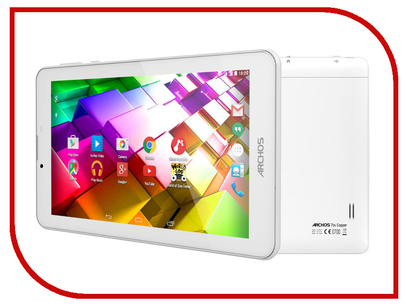 Планшет Archos 70b Copper 503002 (MediaTek MT8312 1.3 GHz/512Mb/4Gb/Wi-Fi/3G/Bluetooth/GPS/Cam/7.0/1024x600/Android)