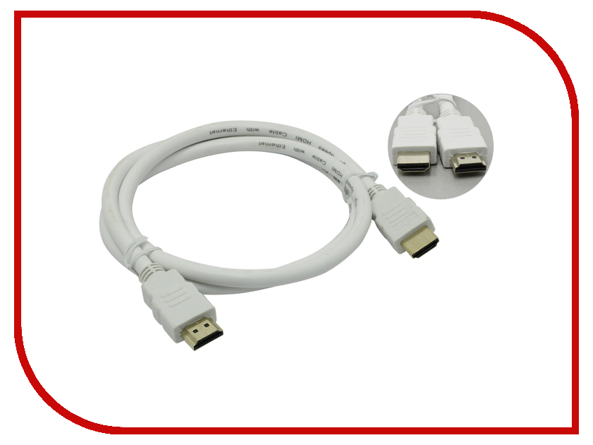 Аксессуар AOpen HDMI 19M / HDMI M V1.4 3D with Ethernet 1m ACG511W-1M White