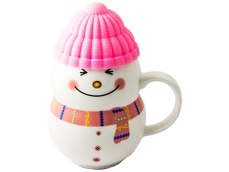 Кружка Эврика Снеговик Pink 96956<br>