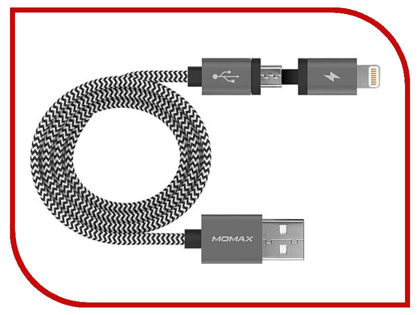 Аксессуар Кабель MOMAX USB/Lightning/microUSB Elite Link 2 in 1 MFI Black<br>