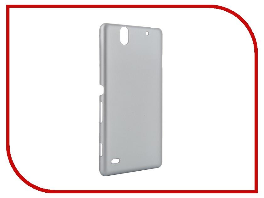 Аксессуар Чехол-накладка Sony Xperia C4 BROSCO пластиковый Silver C4-SOFTTOUCH-SILVER<br>
