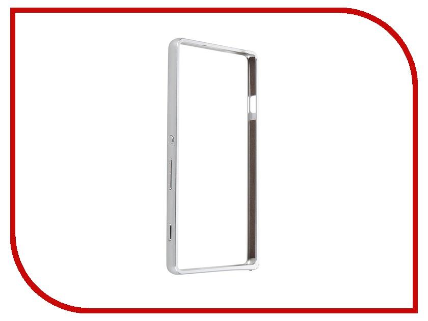 Аксессуар Чехол-накладка Sony Xperia C4 BROSCO металлический Silver C4-BUMPER-SILVER<br>