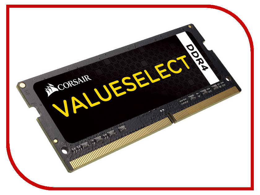 Модуль памяти Corsair ValueSelect DDR4 SO-DIMM 2133MHz PC4-17000 CL15 - 8Gb CMSO8GX4M1A2133C15 corsair valueselect so dimm ddr3 8gb 1600 мгц модуль оперативной памяти cmso8gx3m1a1600c11