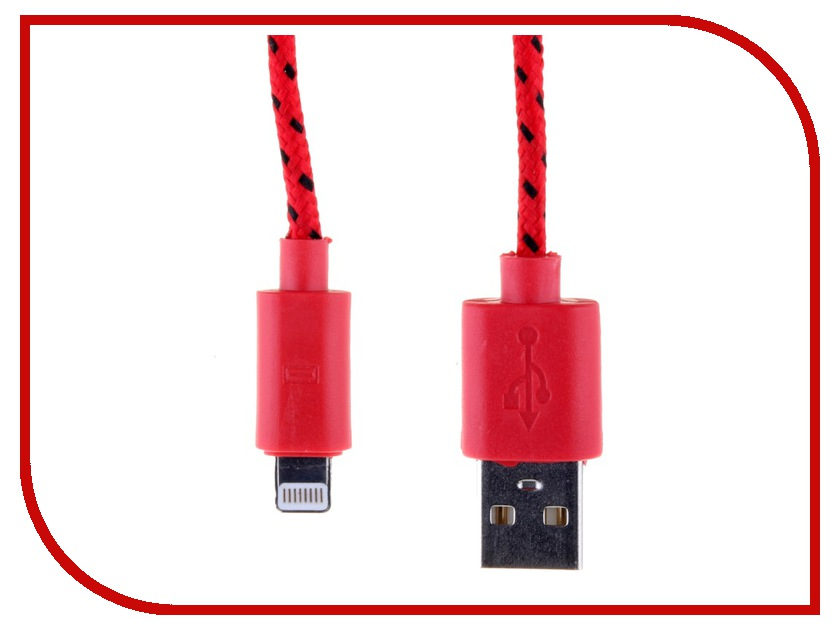 Аксессуар Glossar USB A - APPLE Lightning CORD-1 Red 33944