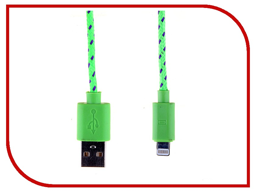 Аксессуар Glossar USB A - APPLE Lightning CORD-1 Green 33943