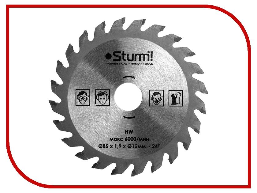 Диск Sturm! CS5060MS-85-15-1.9-24T пильный, по дереву и пластику, 85x15mm, 24 зуба<br>