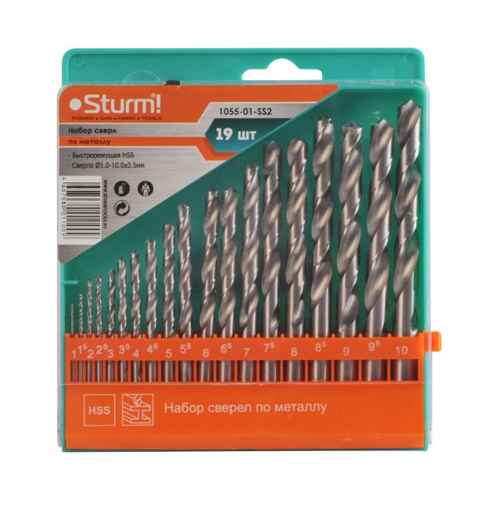 Набор сверл Sturm! 1055-01-SS2 по металлу 19шт
