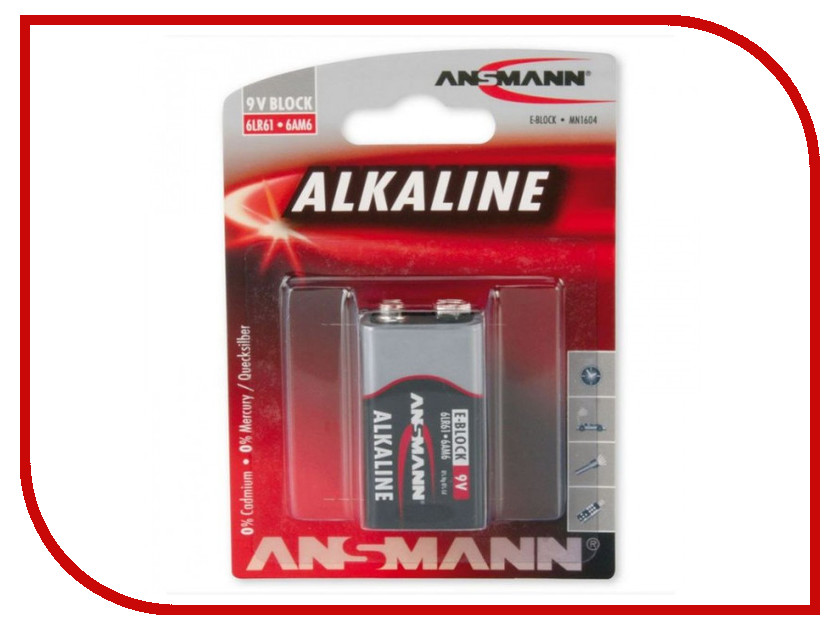 Батарейка КРОНА Ansmann 6LR61 Red 9242<br>