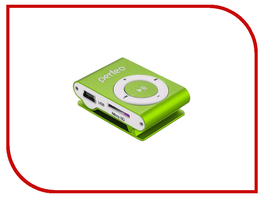 Плеер Perfeo VI-M001 Music Clip Titanium Green цифровой аудио плеер perfeo music clip titanium серебрянный vi m001 silver