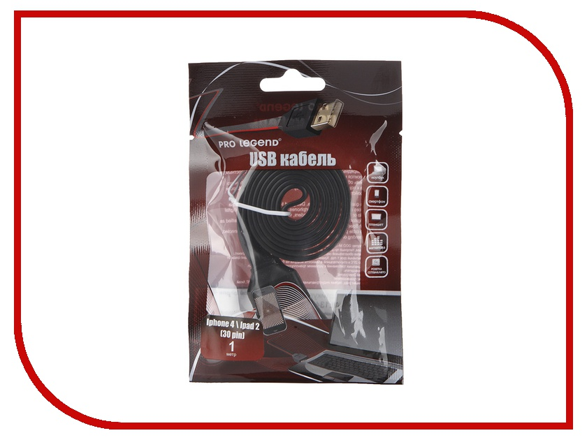 Аксессуар Pro Legend USB 30 pin 1m PL1342 для iPhone 4 Black<br>