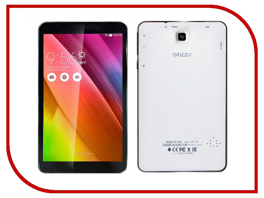 Планшет Ginzzu GT-7020 White Rockchip RK3126 1.2 GHz/512Mb/8Gb/Wi-Fi/Bluetooth/Cam/7.0/1024x600/Android