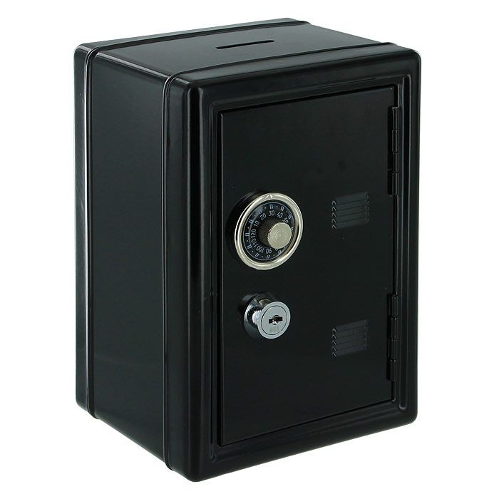Копилка для денег Эврика Сейф с ключом Black 92831