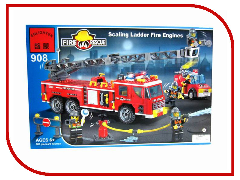 Конструктор Enlighten Brick Пожарные 908 Пожарная машина с лестницей 607 дет. 172969 / Г45474 tomas stern настенные часы tomas stern ts 9023 коллекция настенные часы