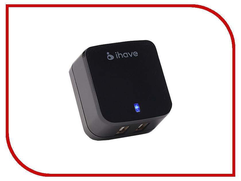 Зарядное устройство iHave Tank 3.4A 2xUSB id0103 Black<br>