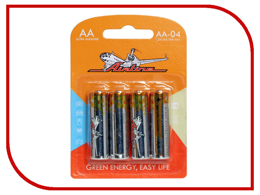 Батарейка AA - Airline AA-04 LR6 (4 штуки) батарейки samsung pleomax lr6 aa 10 шт
