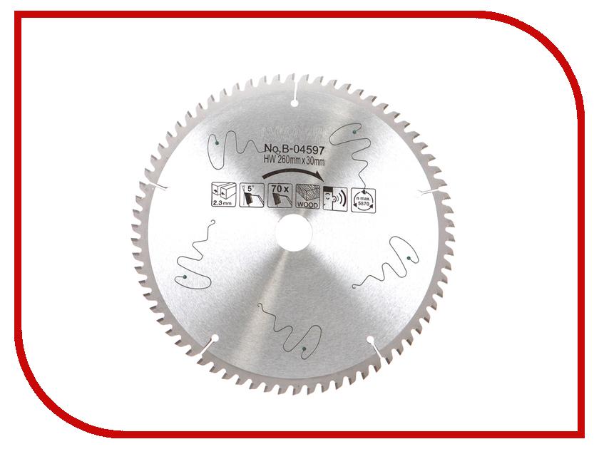 Диск Makita B-04597 пильный по дереву 260x30mm, 70 зубьев makita b 14423 диск шлиф 230x6x22 23mm