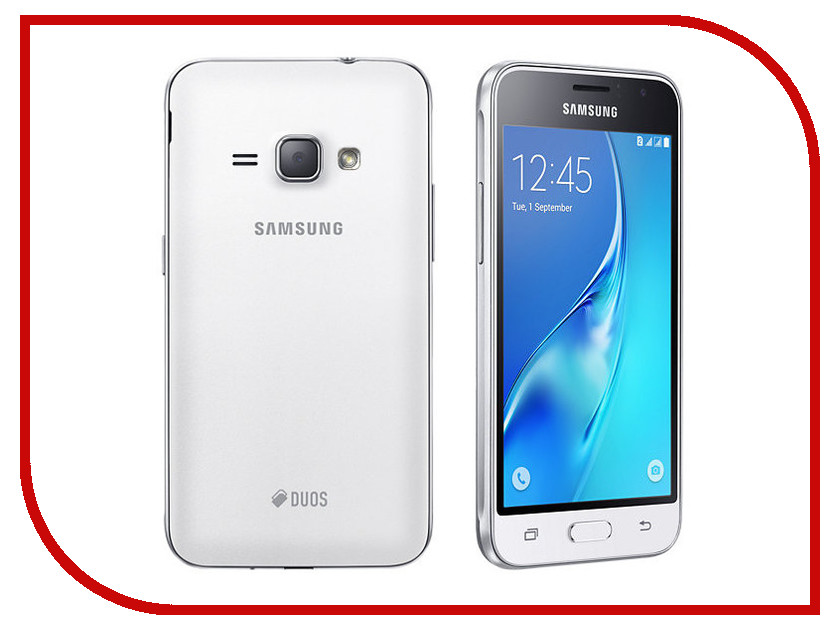 Сотовый телефон Samsung SM-J120F/DS Galaxy J1 (2016) White сотовый телефон samsung sm j320f ds galaxy j3 2016 black