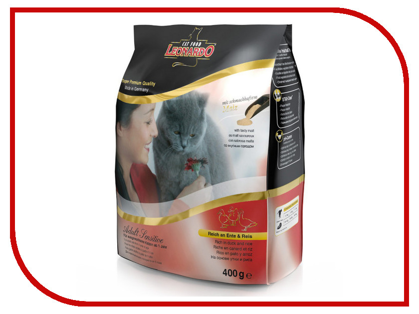 Корм Leonardo Adult Утка с рисом 400g для кошек 19754<br>