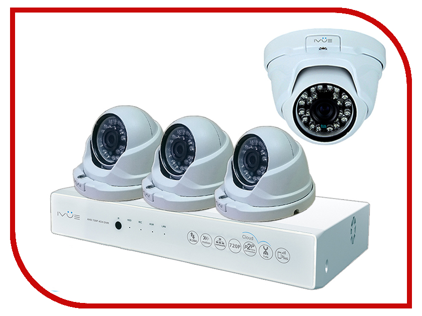 Видеонаблюдение iVUE AHD 1 MPX Дома и Офиса 4+4 IVUE-D5004 AHC-D4 ivue d5004 ahc d4 для дома и офиса 4 4 комплект видеонаблюдения