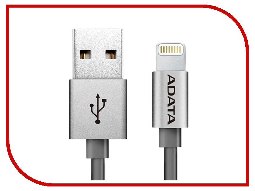 Аксессуар A-Data Lightning to USB 1m AMFIAL-100CM-CTI Titanium<br>