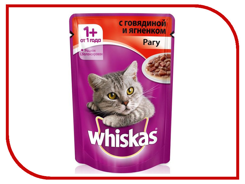 Корм Whiskas Пауч Рагу говядина / ягненок 85g 10117351 whiskas temptations hearty beef flavour treats for cats