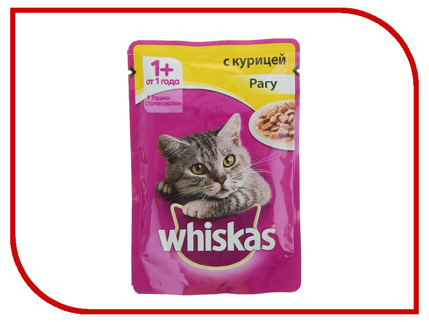 Корм Whiskas Пауч Рагу курица 85g 10117353 whiskas temptations hearty beef flavour treats for cats