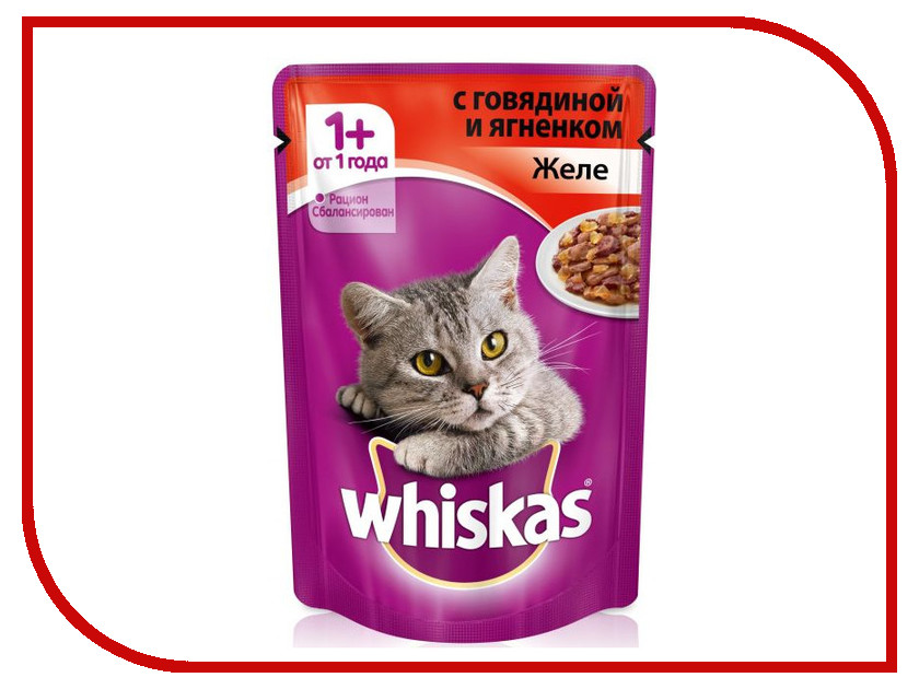 Корм Whiskas Пауч Желе говядина / ягненок 85g 10117363 whiskas temptations hearty beef flavour treats for cats