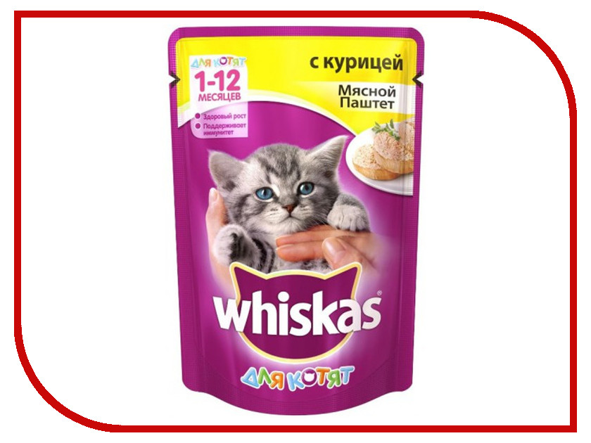 Корм Whiskas Пауч Паштет куриный 85g 10130780 whiskas temptations hearty beef flavour treats for cats