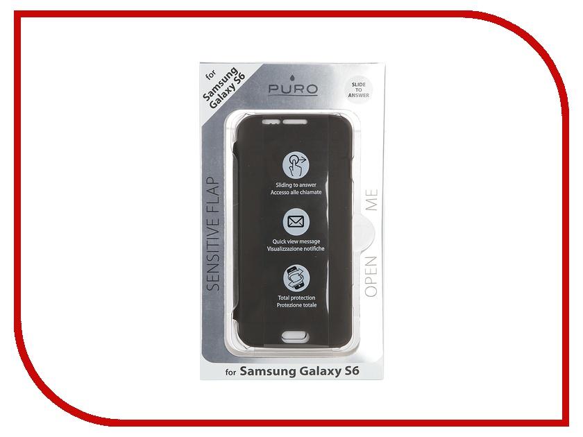 Аксессуар Чехол-накладка Samsung G920F Galaxy S6 PURO Quick View + Answer Call Function Transparent SGS6SENSETR<br>