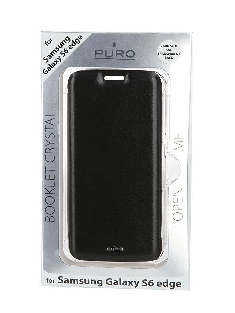 Аксессуар Чехол Samsung Galaxy S6 Edge PURO Ecoleather Cover Black SGS6EDBOOKCCRYBLK<br>