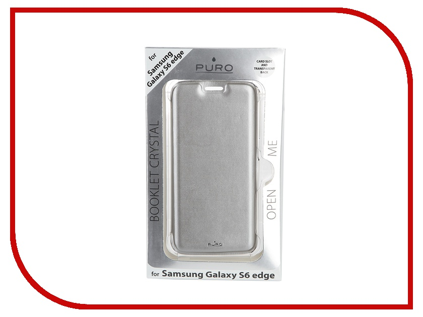 Аксессуар Чехол-накладка Samsung G925F Galaxy S6 Edge PURO Ecoleather Cover Silver SGS6EDBOOKCCRYSIL<br>