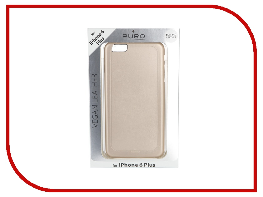 Аксессуар Чехол PURO Vegan Eco-Leather Cover для iPhone 6 Plus Gold IPC655VEGANGOLD<br>