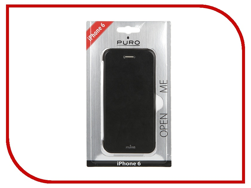 Аксессуар Чехол PURO Eco-Leather Cover для iPhone 6 Black IPC647BOOKCCRYBLK<br>
