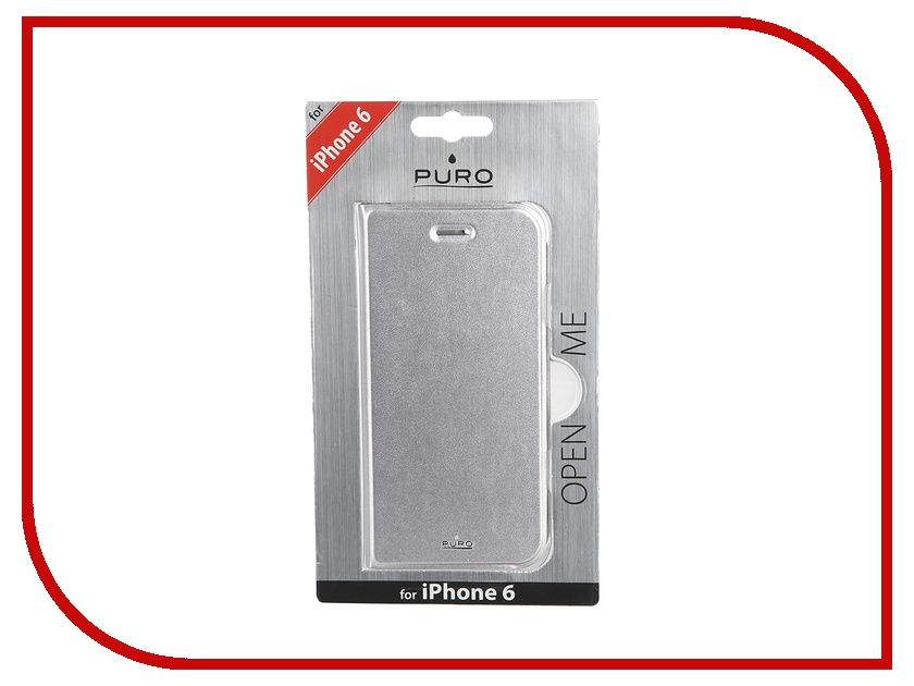Аксессуар Чехол PURO Eco-Leather Cover для iPhone 6 Silver IPC647BOOKC1SIL<br>