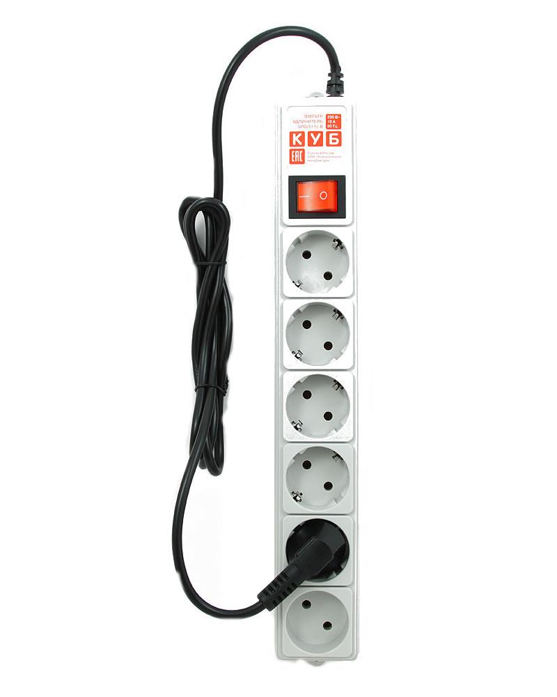Сетевой фильтр Power Cube 6 Socket 1.9m Gray