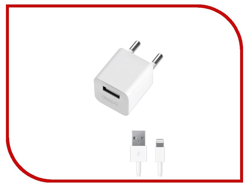 Зарядное устройство Deppa Ultra USB 8-pin 1000mA White 11305