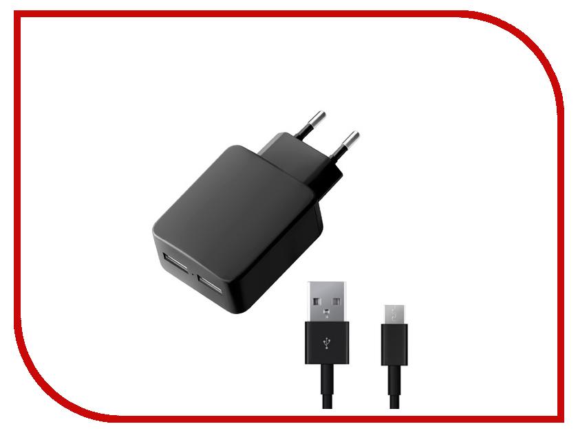 Зарядное устройство Deppa Ultra 2xUSB 3400mA и кабель microUSB Black 11358<br>