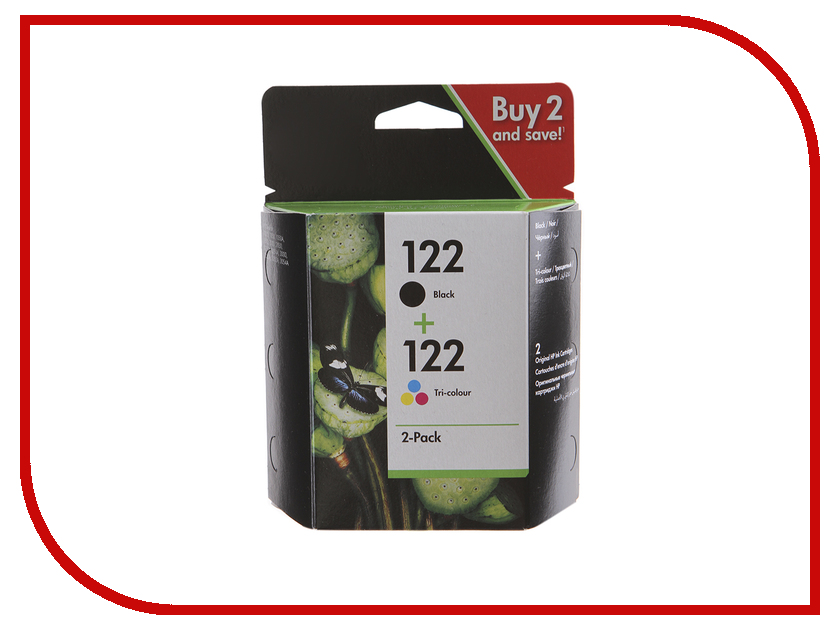 Картридж HP 122 CR340HE 2-pack Black/Tri-colour for hp 122 black ink cartridge for hp 122 xl deskjet 1000 1050 2000 2050 3000 3050a 3052a printer