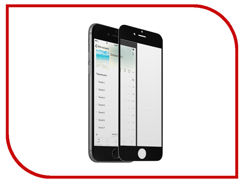 Аксессуар Закаленное стекло с дублирующими кнопками для iPhone 6 / 6S DF iButtonColor-01 Black<br>