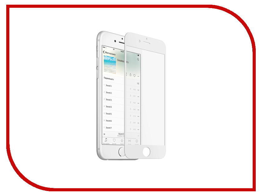 Аксессуар Закаленное стекло с дублирующими кнопками для iPhone 6 / 6S DF iButtonColor-01 White<br>
