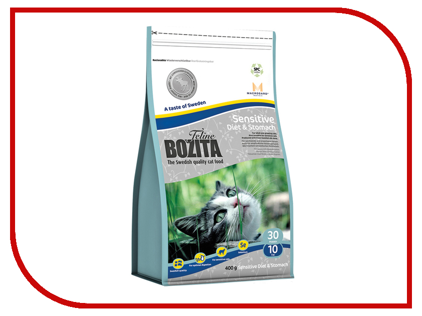 Корм BOZITA Feline Sensitive Diet &amp; Stomach 400g для кошек<br>