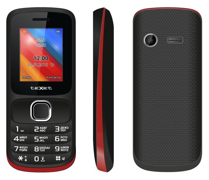Сотовый телефон teXet TM-125 Black-Red<br>